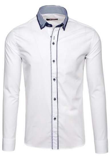 Koszula męska elegancka z długim rękawem biała Bolf 6941