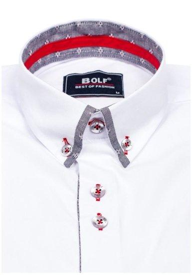 Koszula męska elegancka z długim rękawem biała Bolf 6947