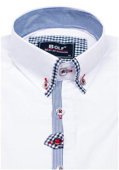 Koszula męska elegancka z długim rękawem biała Bolf 6949