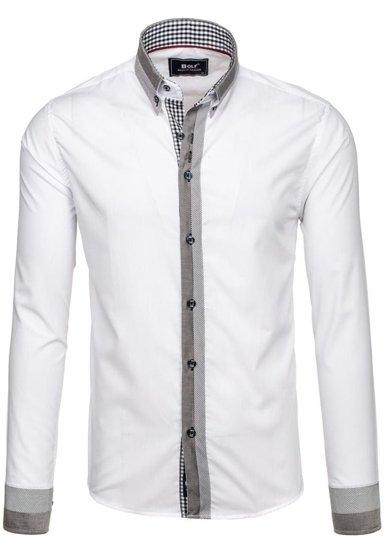 Koszula męska elegancka z długim rękawem biała Bolf 6950