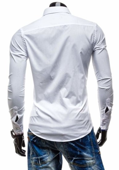 Koszula męska elegancka z długim rękawem biała Denley 4770