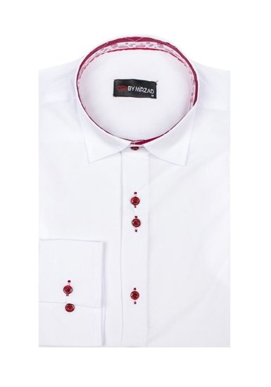Koszula męska elegancka z długim rękawem biała Denley 6922