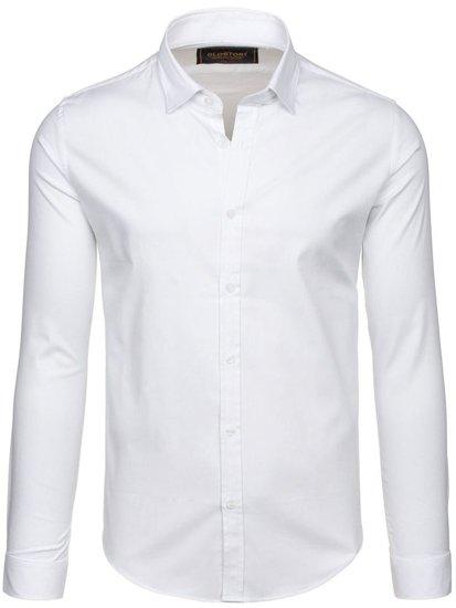 Koszula męska elegancka z długim rękawem biała Denley 9666
