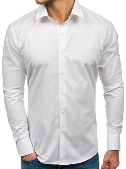 Koszula męska elegancka z długim rękawem biała Denley GEM01