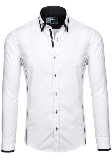 Koszula męska elegancka z długim rękawem biało-czarna Bolf 4720