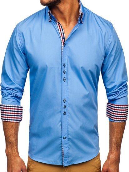 Koszula męska elegancka z długim rękawem błękitna Bolf 0926