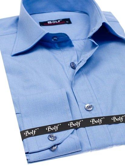 Koszula męska elegancka z długim rękawem błękitna Bolf 1703
