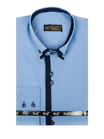 Koszula męska elegancka z długim rękawem błękitna Bolf 1721-A