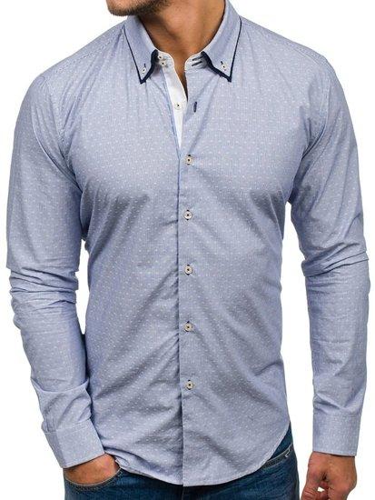 Koszula męska elegancka z długim rękawem błękitna Denley 9658