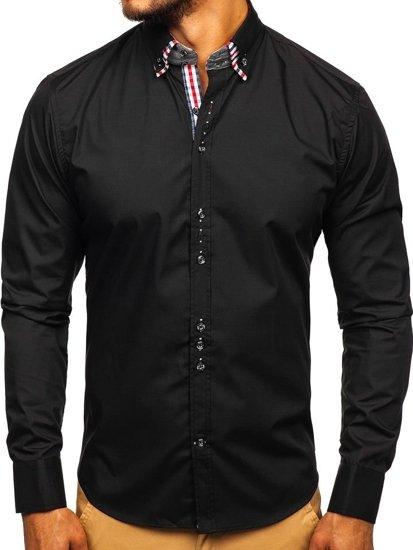 Koszula męska elegancka z długim rękawem czarna Bolf 0926