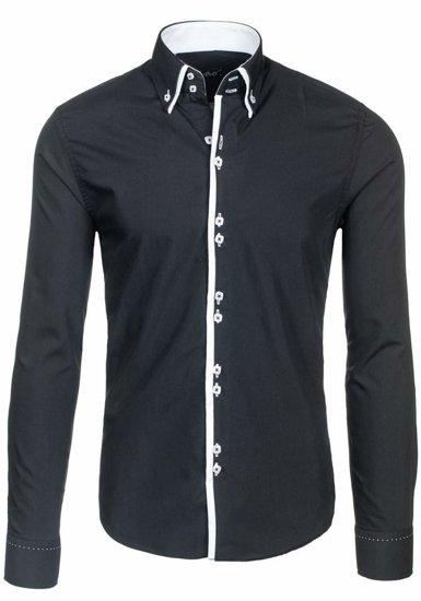 Koszula męska elegancka z długim rękawem czarna Bolf 1721-1