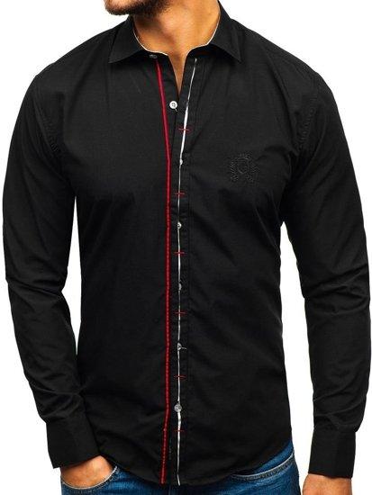 Koszula męska elegancka z długim rękawem czarna Bolf 1769