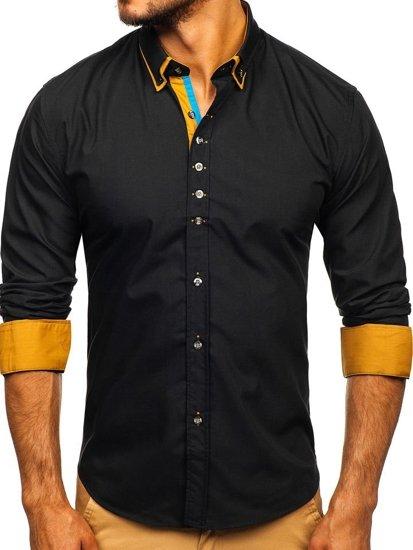 Koszula męska elegancka z długim rękawem czarna Bolf 3708