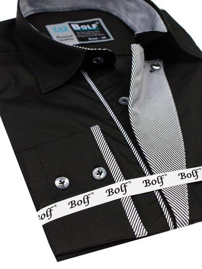 Koszula męska elegancka z długim rękawem czarna Bolf 4713