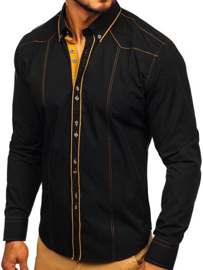 Koszula męska elegancka z długim rękawem czarna Bolf 4777