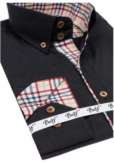 Koszula męska elegancka z długim rękawem czarna Bolf 5747-1
