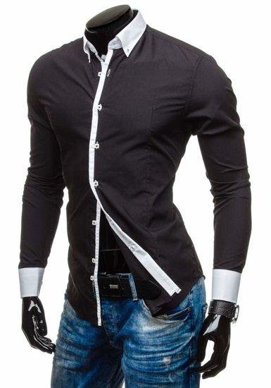 Koszula męska elegancka z długim rękawem czarna Bolf 5798