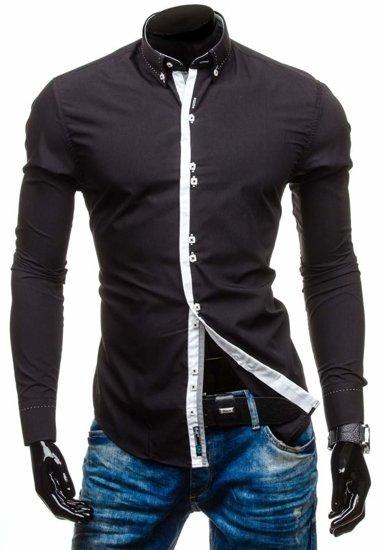 Koszula męska elegancka z długim rękawem czarna Bolf 5814