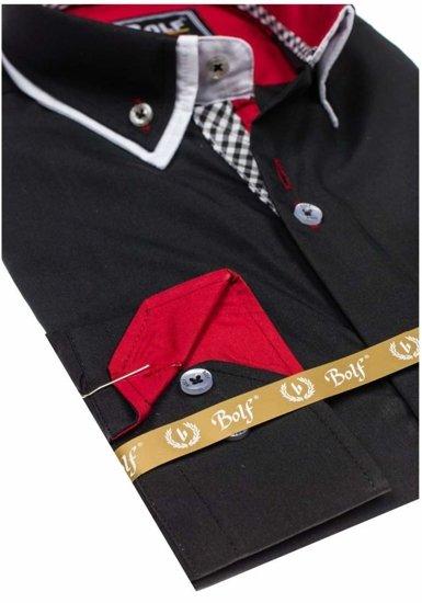 Koszula męska elegancka z długim rękawem czarna Bolf 5818