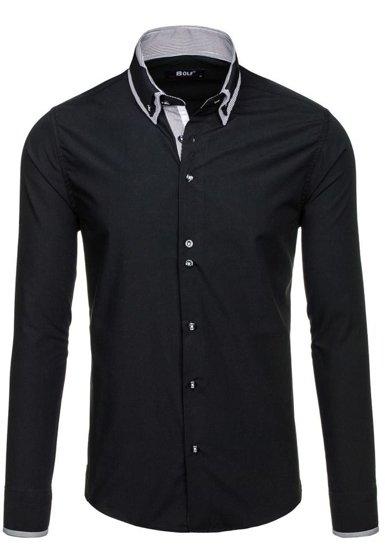 Koszula męska elegancka z długim rękawem czarna Bolf 6929-A