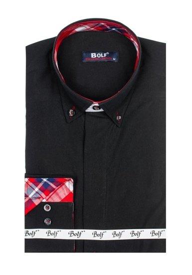 Koszula męska elegancka z długim rękawem czarna Bolf 6930