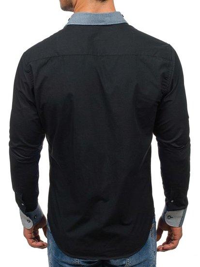 Koszula męska elegancka z długim rękawem czarna Bolf 6962