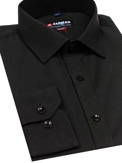 Koszula męska elegancka z długim rękawem czarna Denley 001