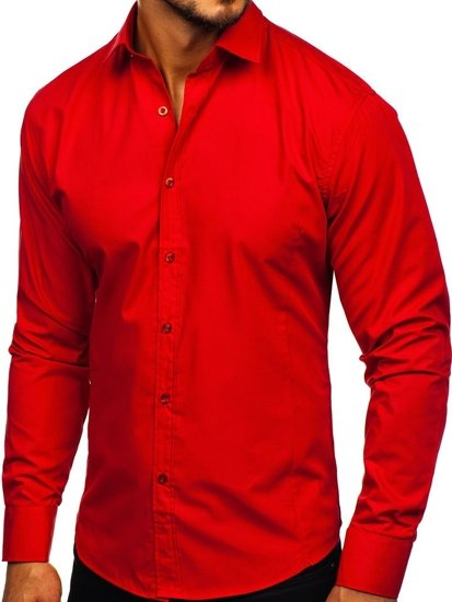 Koszula męska elegancka z długim rękawem czerwona Bolf 1703