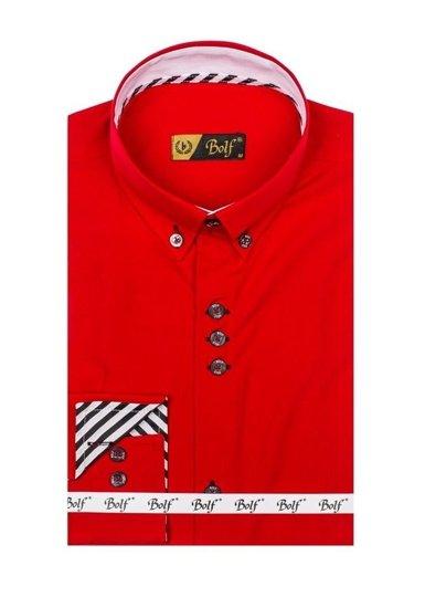 Koszula męska elegancka z długim rękawem czerwona Bolf 5796
