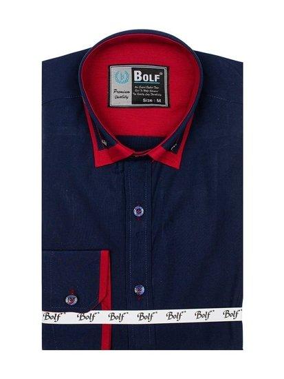 Koszula męska elegancka z długim rękawem granatowa Bolf 4720