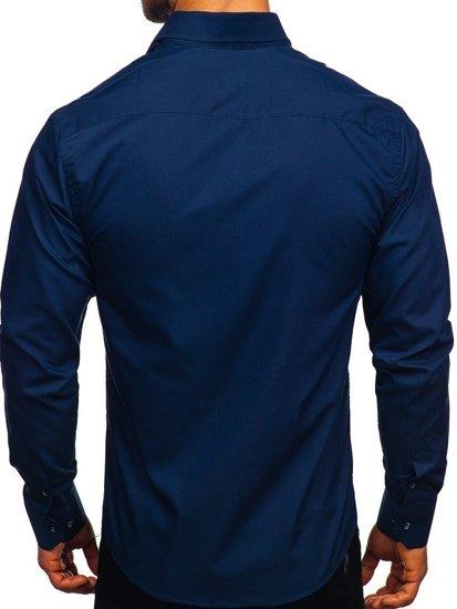 Koszula męska elegancka z długim rękawem granatowa Bolf 6944