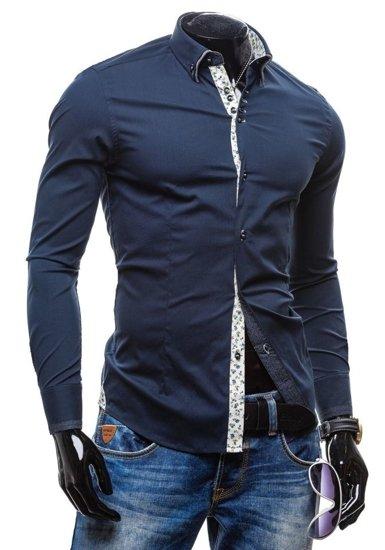 Koszula męska elegancka z długim rękawem granatowa Denley 7180