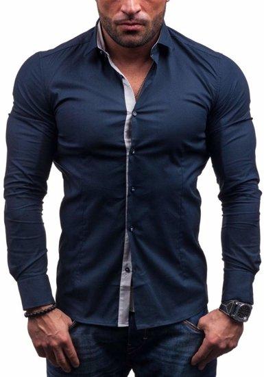 Koszula męska elegancka z długim rękawem granatowa Denley 7185