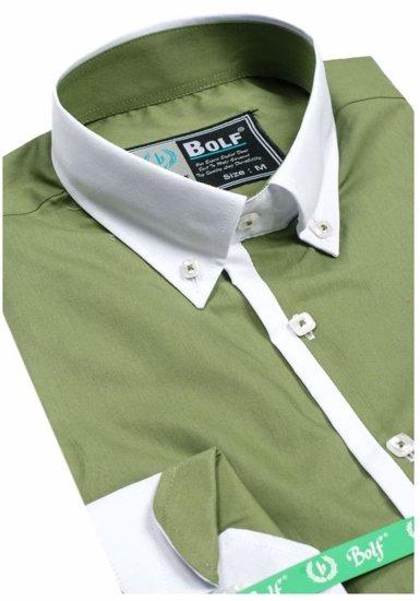 Koszula męska elegancka z długim rękawem oliwkowa Bolf 5798