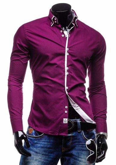 Koszula męska elegancka z długim rękawem purpurowa Bolf 1721-1