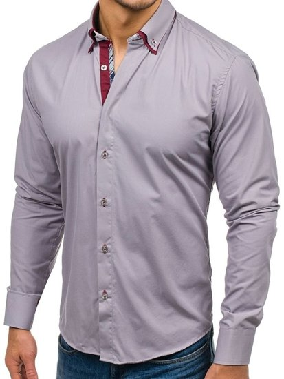 Koszula męska elegancka z długim rękawem szara Bolf 5895