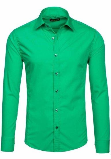Koszula męska elegancka z długim rękawem zielona Bolf 1703-2
