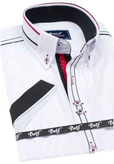 Koszula męska elegancka z krótkim rękawem biała Bolf 6513