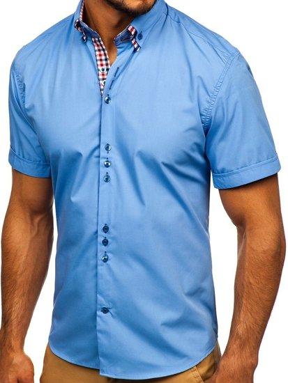 Koszula męska elegancka z krótkim rękawem błękitna Bolf 3507