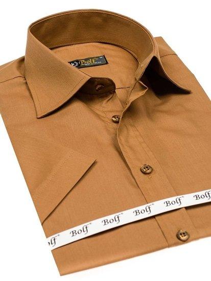 Koszula męska elegancka z krótkim rękawem camelowa Bolf 7501