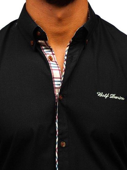 Koszula męska elegancka z krótkim rękawem czarna Bolf 5509-1