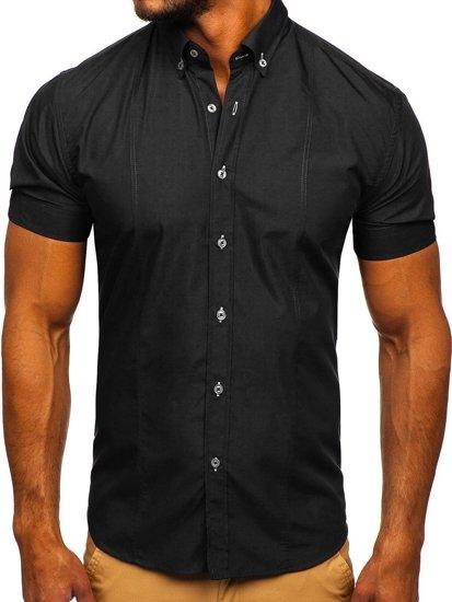 Koszula męska elegancka z krótkim rękawem czarna Bolf 5535