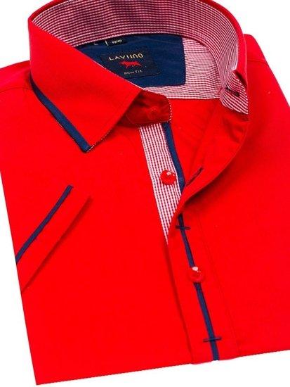 Koszula męska elegancka z krótkim rękawem czerwona Denley 027