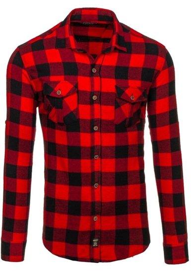Koszula męska flanelowa z długim rękawem czerwona Denley 1770