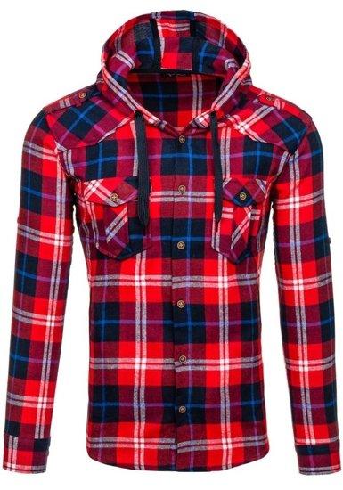 Koszula męska flanelowa z długim rękawem czerwona Denley 2500
