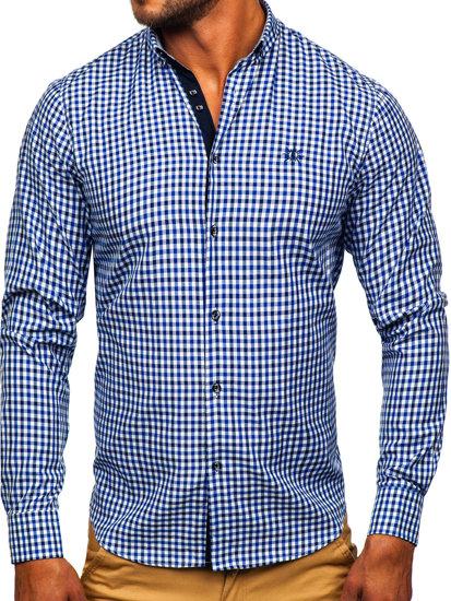 Koszula męska w kratę vichy z długim rękawem granatowa Bolf 4712