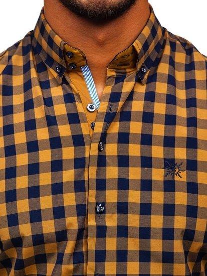 Koszula męska w kratę z długim rękawem camelowa Bolf 4701