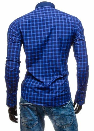 Koszula męska w kratę z długim rękawem chabrowa Bolf 5813