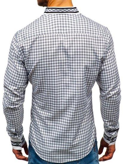 Koszula męska w kratę z długim rękawem czarna Bolf 8808