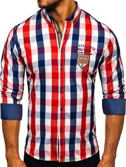 Koszula męska w kratę z długim rękawem czerwona Bolf 1766-1